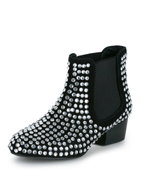 The Most Stylish Women's Suede Kitten Heel Closed Toe With Rhinestone Black Bootie