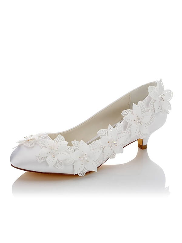 Fashion Satin PU Closed Toe Spool Heel Wedding Shoes For Women