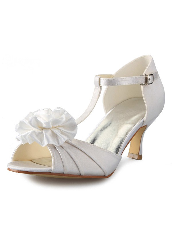The Most Trendy Women's Satin Stiletto Heel T-Strap Peep Toe With Flower Dance Shoes