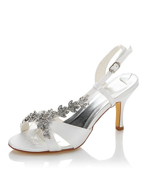 Stylish Satin PU Peep Toe Stiletto Heel Wedding Shoes For Women