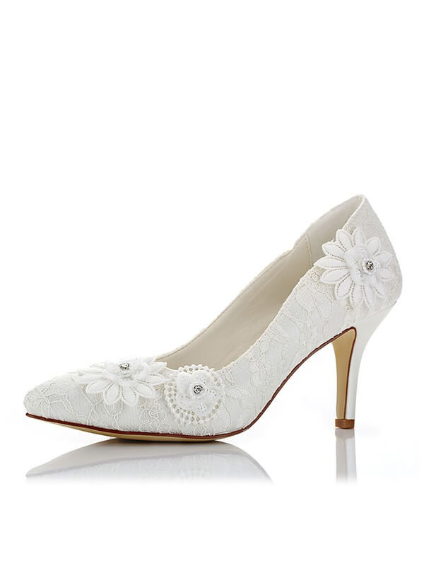 Stylish Net PU Closed Toe Stiletto Heel Wedding Shoes For Women