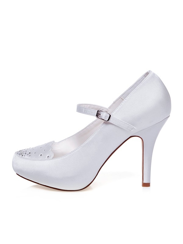 The Most Fashionable Women's Satin Closed Toe Buckle Stiletto Heel Wedding Shoes