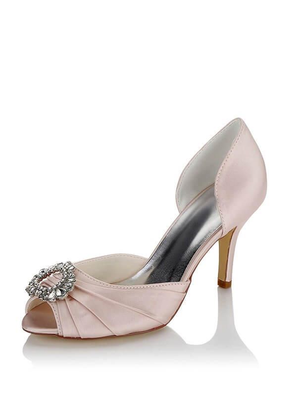 784cd6be712 Stylish Satin PU Peep Toe Stiletto Heel Wedding Shoes For Women