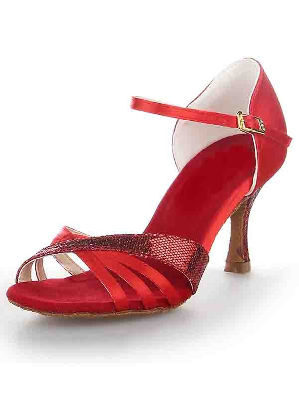 The Most Stylish Women's Stiletto Heel Satin Peep Toe Buckle Dance Shoes
