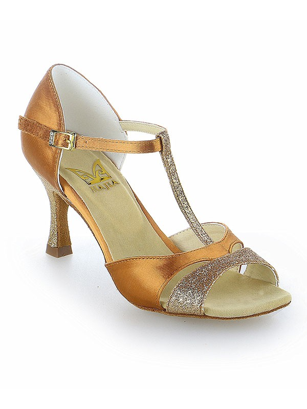 The Most Stylish Women's Satin Peep Toe Buckle Stiletto Heel Dance Shoes