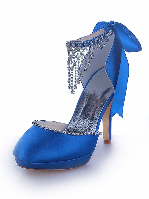 The Most Stylish Women's Mary Jane Satin Platform Closed Toe Cone Heel With Rhinestone Platforms Shoes