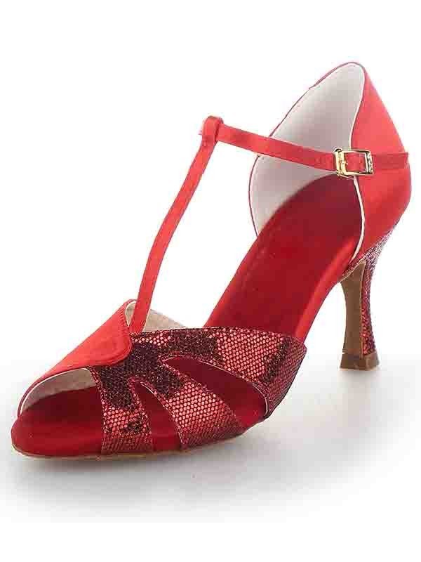 The Most Fashionable Women's T-Strap Peep Toe Stiletto Heel Satin Sparkling Glitter Dance Shoes