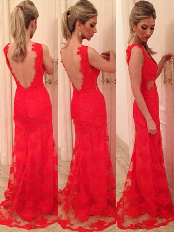 Trumpet/Mermaid V-neck Lace Sleeveless Floor-Length Dresses