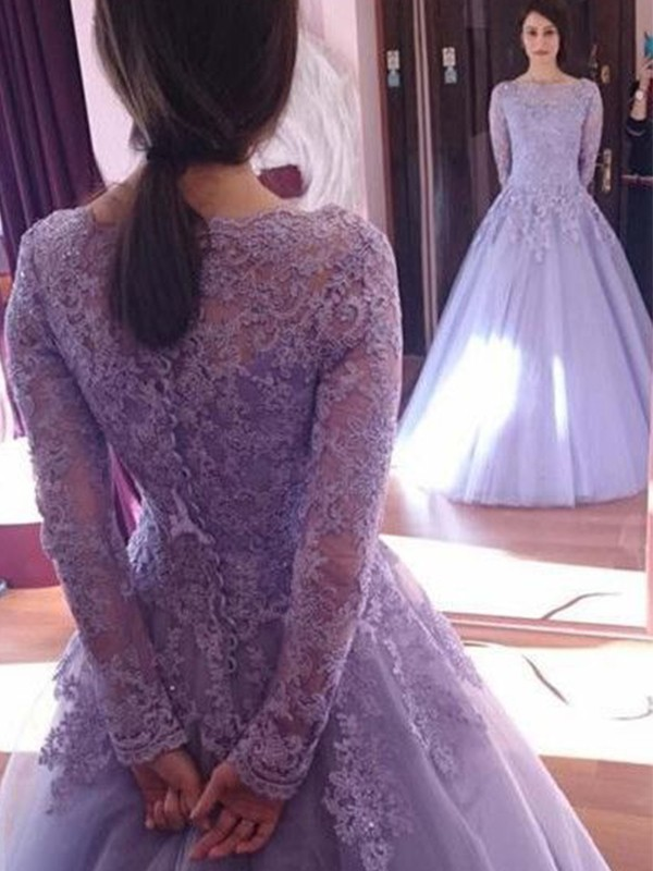 Ball Gown Jewel Tulle Long Sleeves Floor-Length Dresses