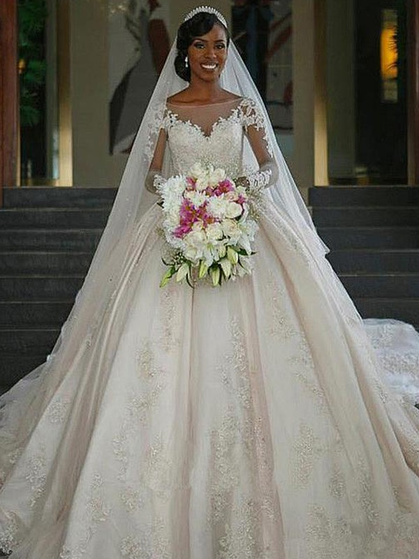 Ball Gown Bateau Satin Long Sleeves Sweep/Brush Train Wedding Dresses