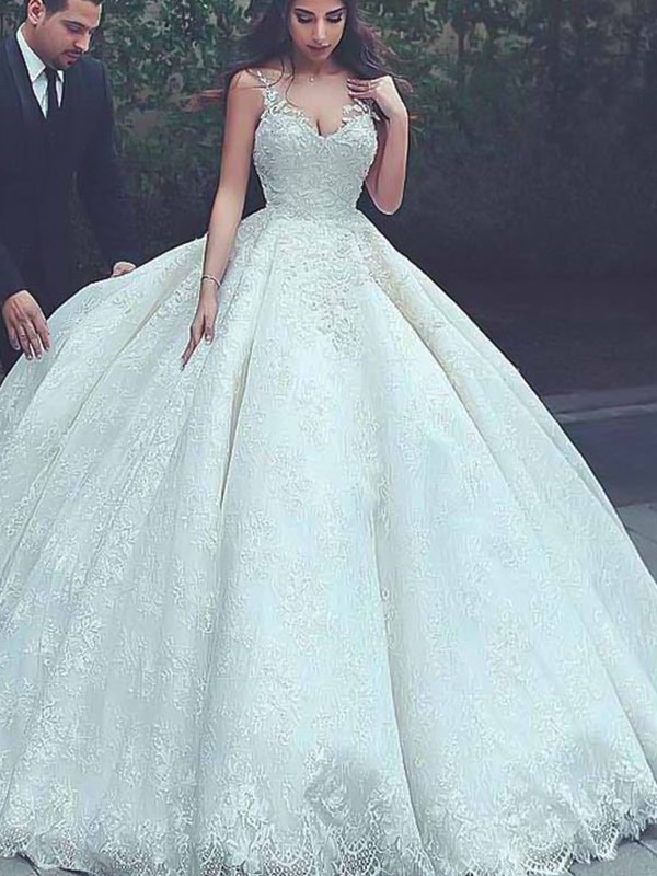 Ball Gown Spaghetti Straps Tulle Sleeveless Sweep/Brush Train Wedding Dresses