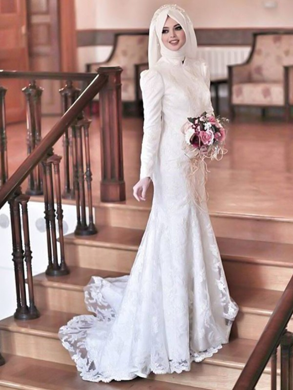 Trumpet/Mermaid High Neck Tulle Long Sleeves Sweep/Brush Train Wedding Dresses