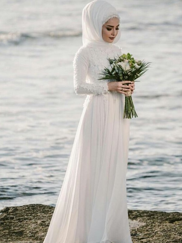 A-Line/Princess Jewel Chiffon Long Sleeves Floor-Length Wedding Dresses