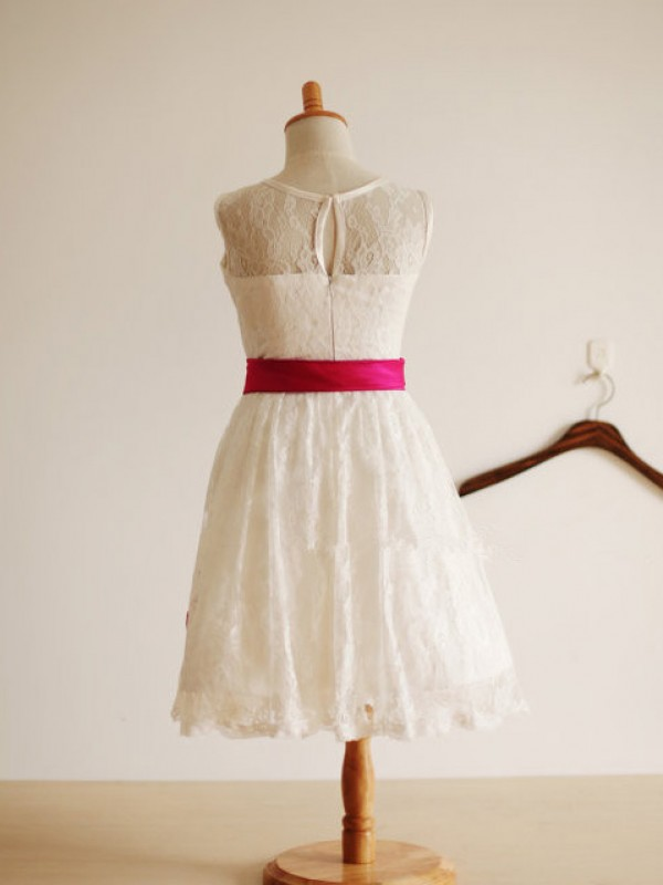 A-Line/Princess Jewel Lace Sleeveless Tea-Length Little Girl Dresses
