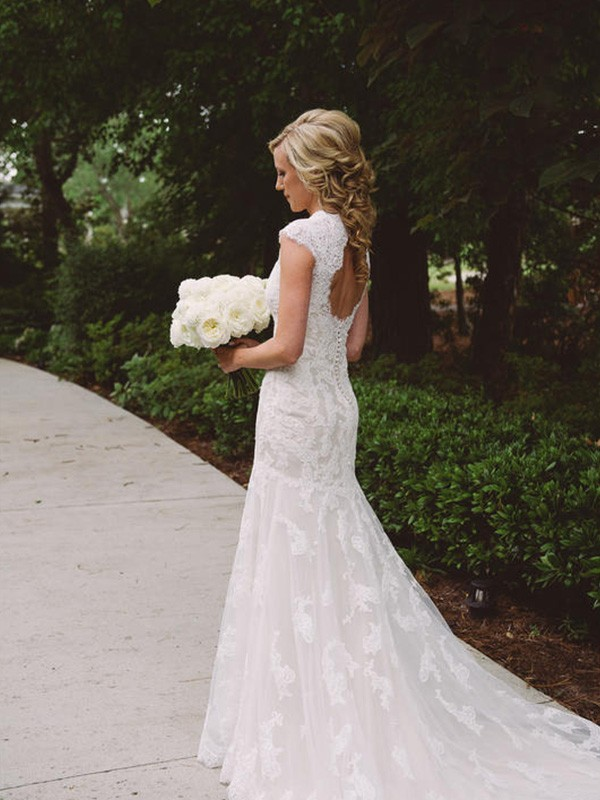 Court Train Sheath Column Short Sleeves V Neck Lace Wedding Dresses Queenabelle,Cowboy Boots And Wedding Dress