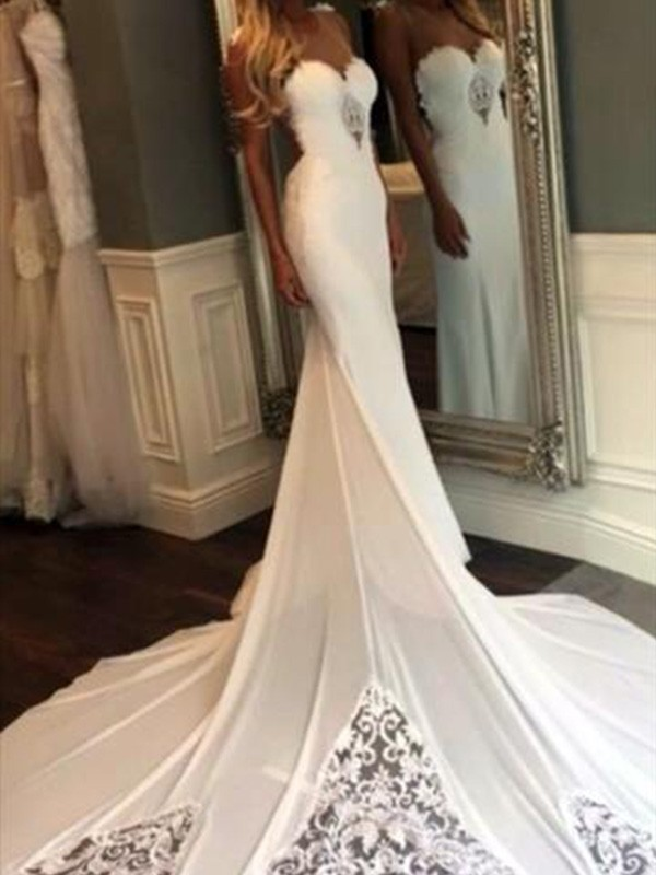 Cathedral Train Trumpet Mermaid Sleeveless Sweetheart Lace Wedding Dresses Queenabelle