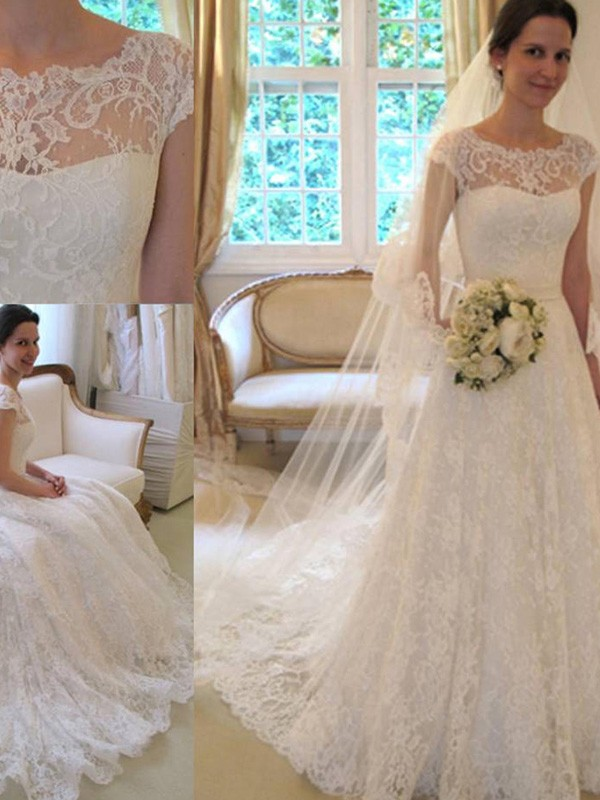 Short Sleeves Square Lace Wedding