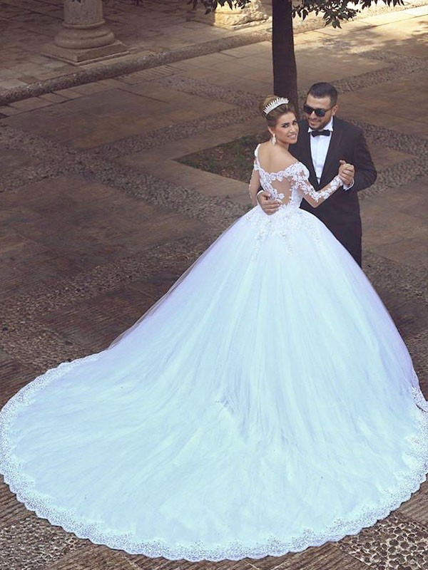 Court Train Ball Gown Long Sleeves Off